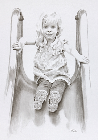 Lily penciol drawn portrait by Simon Taylor