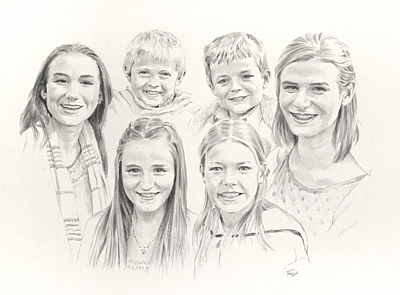 Family group pencil drawing on A3 paper by Simon Taylor