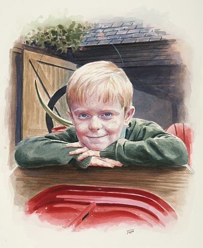 Child Portrait Watercolour by Simon Taylor