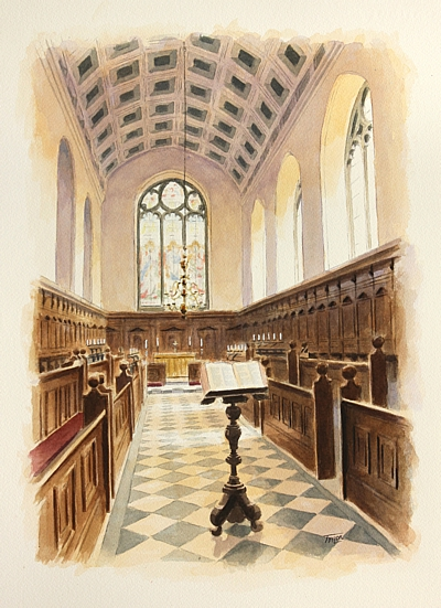 The Chapel, Oriel College, Oxford - watercolour by Simon Taylor