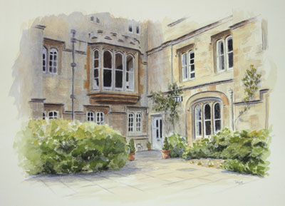 Provost's Lodgings Oriel College, Oxford - watercolour by Simon Taylor