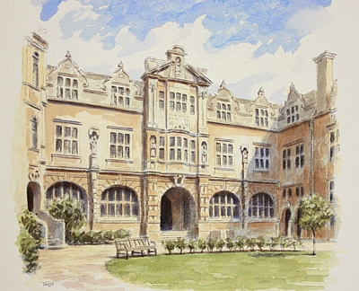 Rhodes Building Oriel College, Oxford - watercolour by Simon Taylor