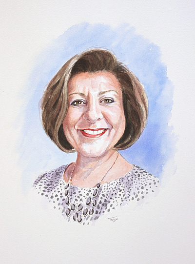 Sandra - watercolour portrait by Simon Taylor