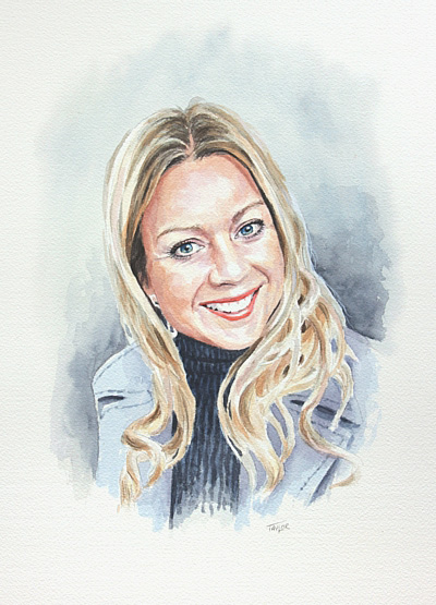 Susan - watercolour portrait by Simon Taylor