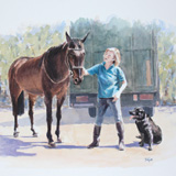 Lady with Horse and Dog, portrait painting by Simon Taylor